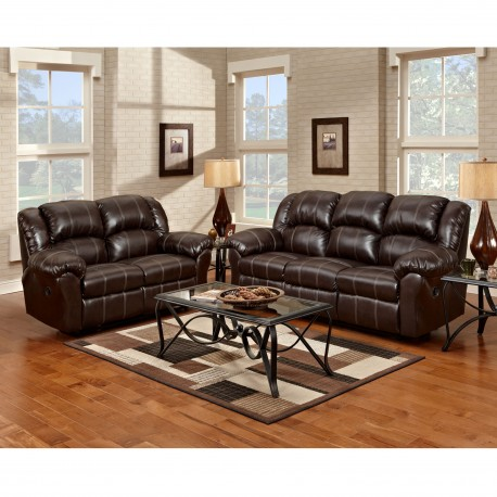 Reclining Living Room Set in Brandon Brown Leather