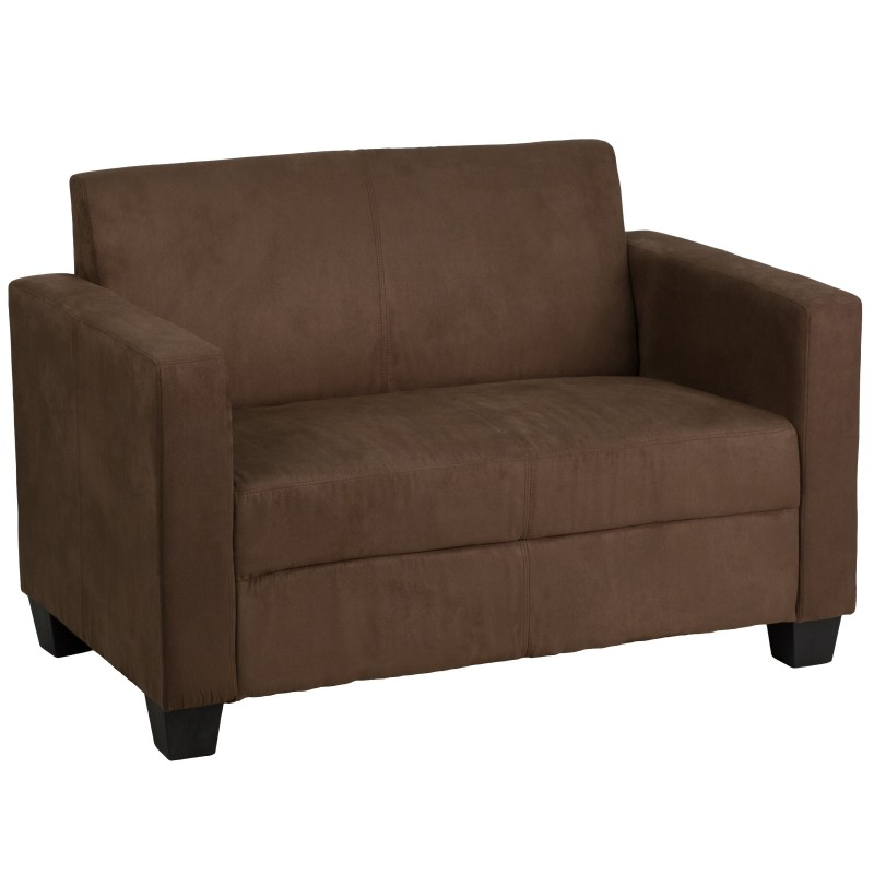 Primo collection chocolate brown microfiber loveseat Brown microfiber couch and loveseat