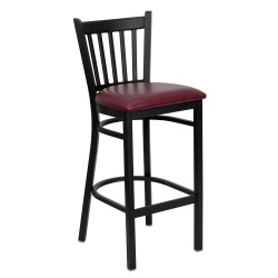 Black Vertical Back Metal Restaurant Bar Stool - Burgundy Vinyl Seat
