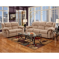 Reclining Living Room Set in Sensations Camel Microfiber