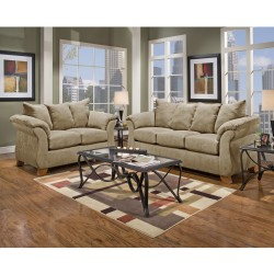 Living Room Set in Sensations Camel Microfiber