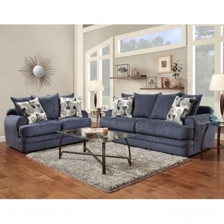 Living Room Set in Caliber Navy Chenille