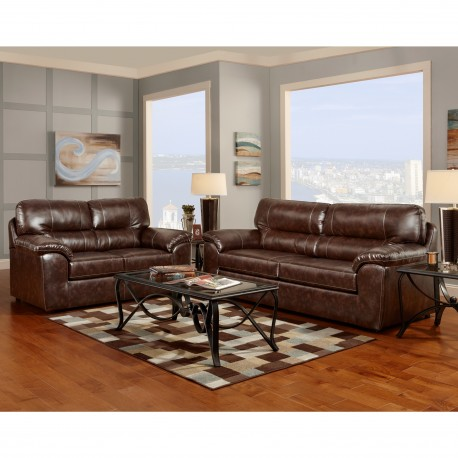 Living Room Set in Cheyenne Cafe Leather