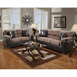 Living Room Set in Laredo Chocolate Microfiber