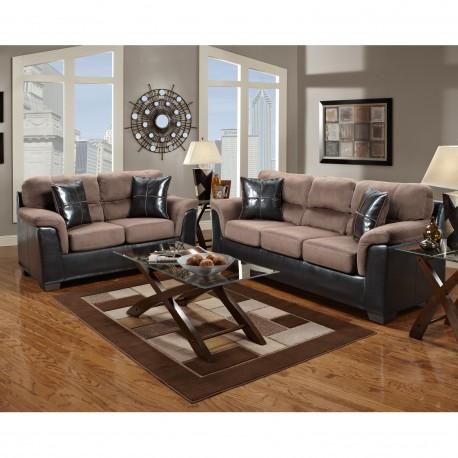 Living Room Set in Laredo Chocolate Microfiber