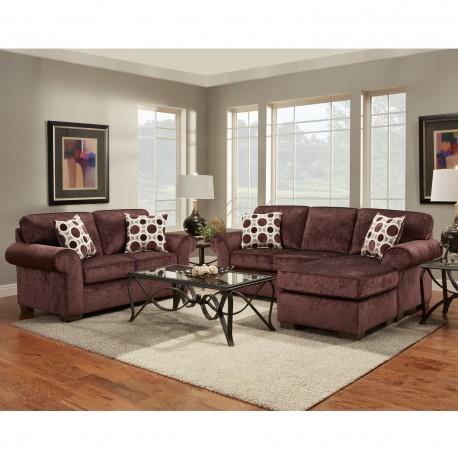 Living Room Set in Prism Elderberry Microfiber