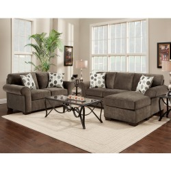 Living Room Set in Elizabeth Ash Microfiber