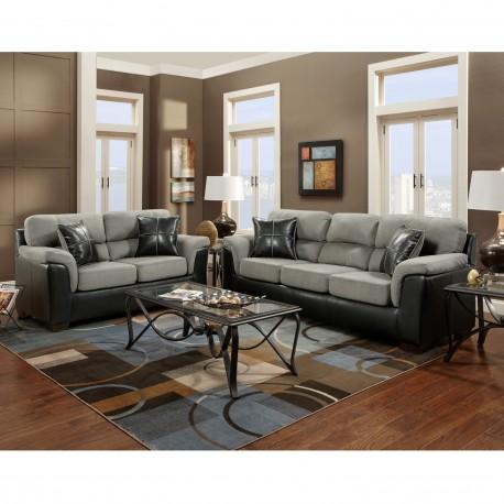 Living Room Set in Laredo Graphite Microfiber