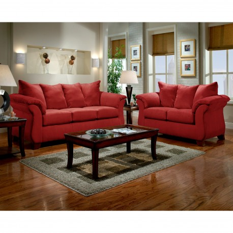 Living Room Set in Sensations Red Brick Microfiber