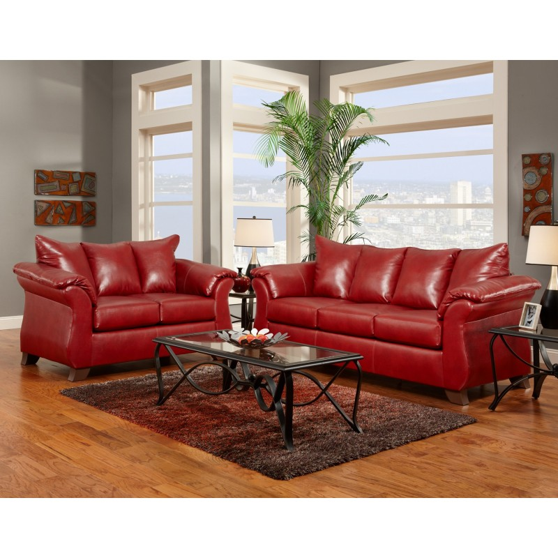 living room set in sierra red leather