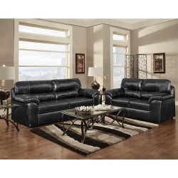 Living Room Set in Taos Black Leather