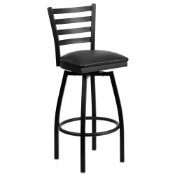 Black Ladder Back Swivel Metal Bar Stool - Black Vinyl Seat