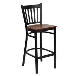 Black Vertical Back Metal Restaurant Bar Stool - Cherry Wood Seat