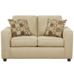 Vivid Beige Fabric Loveseat