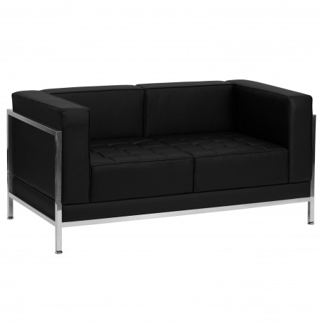 Immaculate Collection Contemporary Black Leather Love Seat with Encasing Frame