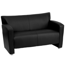 Sage Collection Black Leather Love Seat