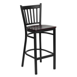 Black Vertical Back Metal Restaurant Bar Stool - Mahogany Wood Seat