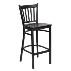 Black Vertical Back Metal Restaurant Bar Stool - Mahogany Wood Seat