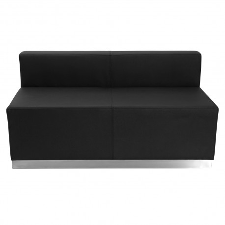 Inspiration Collection Black Leather Loveseat with Brushed Stainless Steel Base