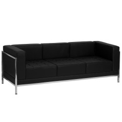 Immaculate Collection Contemporary Black Leather Sofa with Encasing Frame