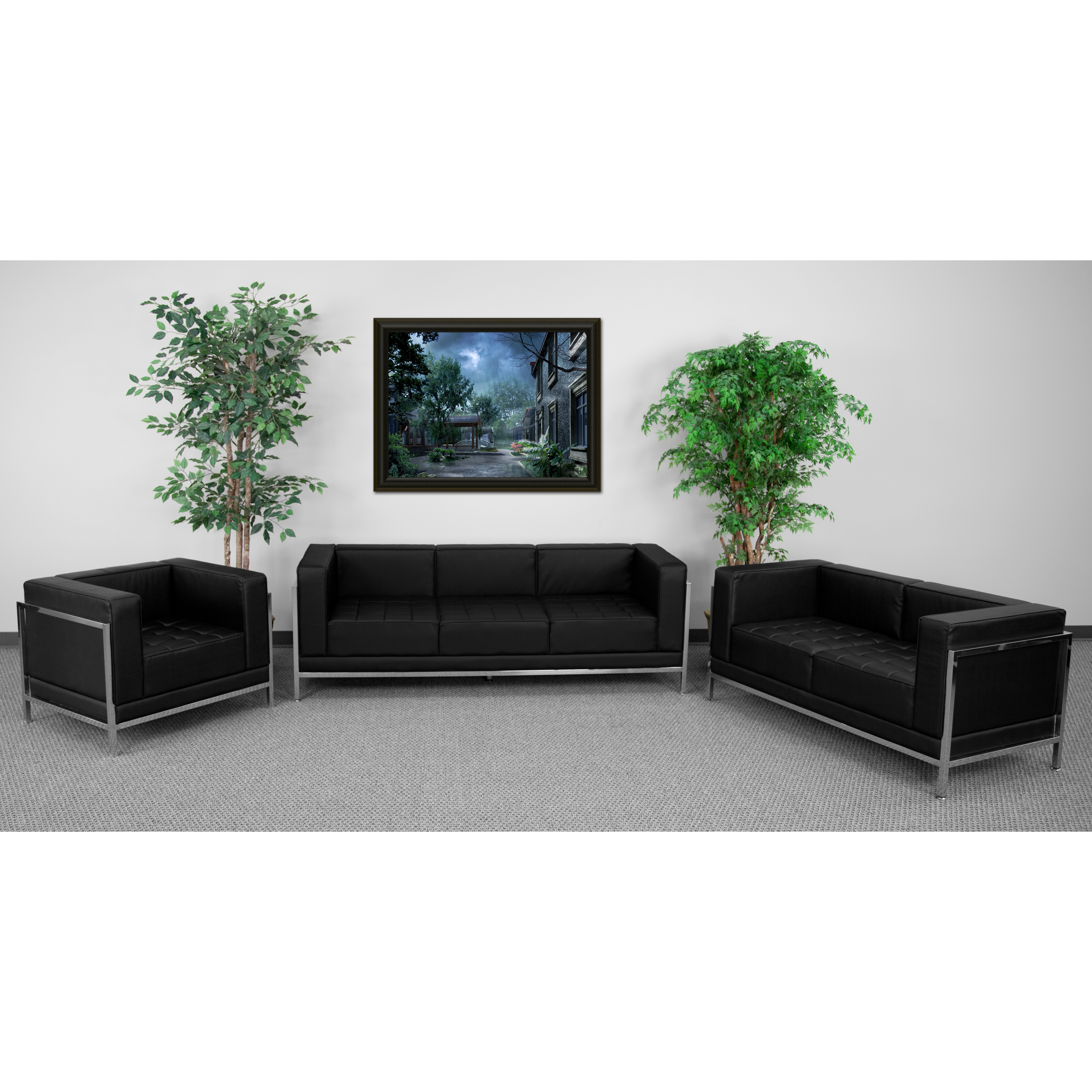 Immaculate Collection Black Leather 3 Piece Sofa Set