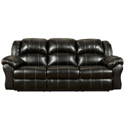 Taos Black Leather Reclining Sofa