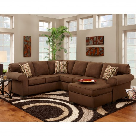 Patriot Chocolate Microfiber U-Shaped Sectional