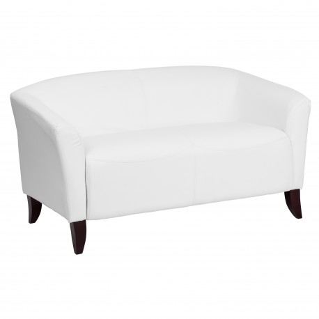 Emperor Collection White Leather Love Seat