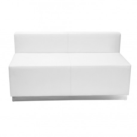 Inspiration Collection White Leather Loveseat with Brushed Stainless Steel Base