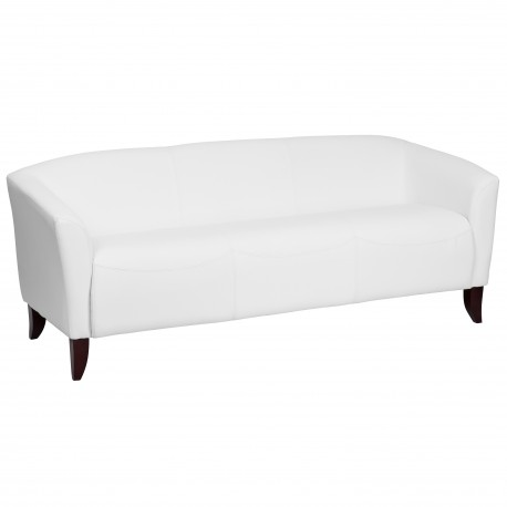 Emperor Collection White Leather Sofa