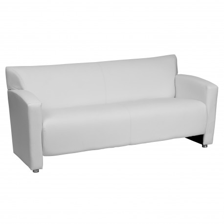 Sage Collection White Leather Sofa