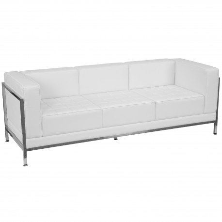 Immaculate Collection Contemporary White Leather Sofa with Encasing Frame