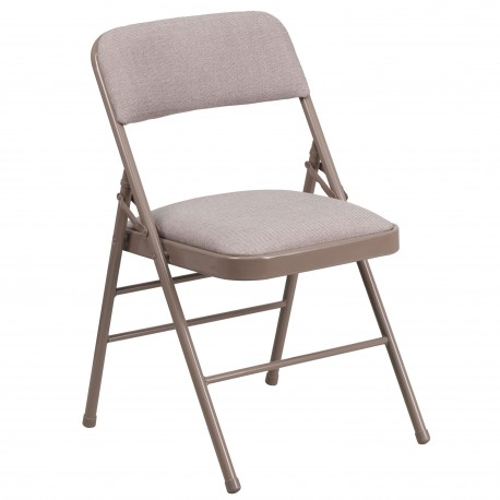 Triple Braced Beige Fabric Upholstered Metal Folding Chair