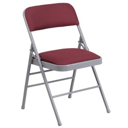 Triple Braced Burgundy Patterned Fabric Upholstered Metal Folding Chair
