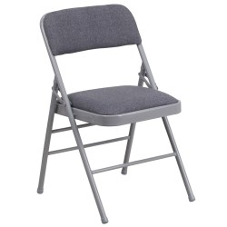 Triple Braced Gray Fabric Upholstered Metal Folding Chair