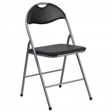 Black Vinyl Metal Folding Chair with Carrying Handle
