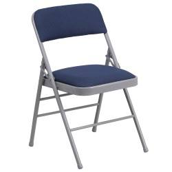 Triple Braced Navy Patterned Fabric Upholstered Metal Folding Chair