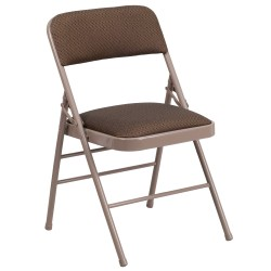 Triple Braced Brown Fabric Upholstered Metal Folding Chair