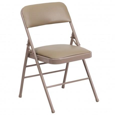 Triple Braced Beige Vinyl Upholstered Metal Folding Chair