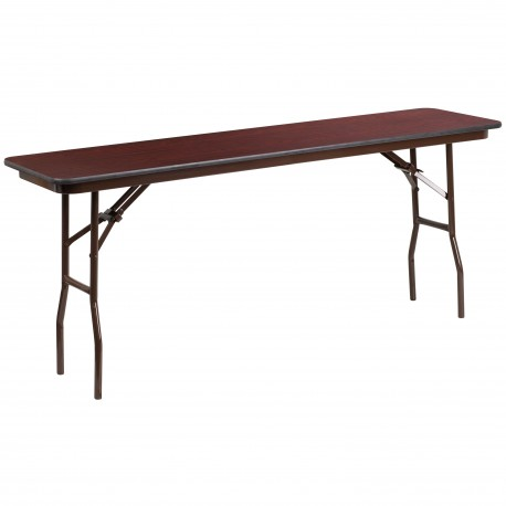 18'' x 72'' Rectangular Walnut Melamine Laminate Folding Training Table