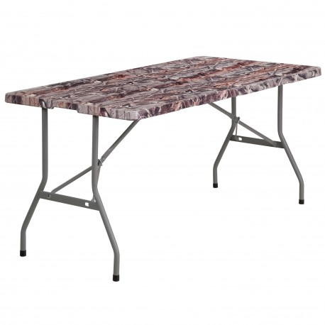30''W x 60''L Bi-Fold Camouflage Plastic Folding Table