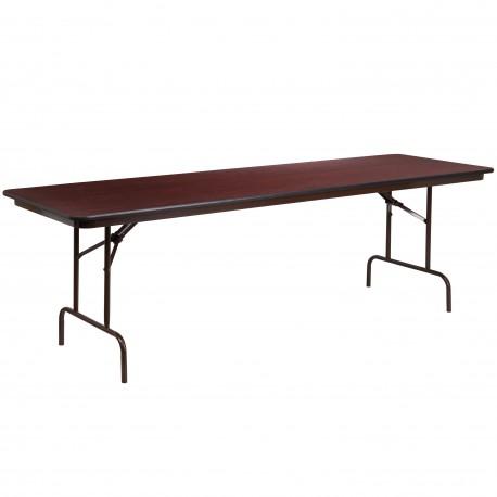30'' x 96'' Rectangular Walnut Melamine Laminate Folding Banquet Table