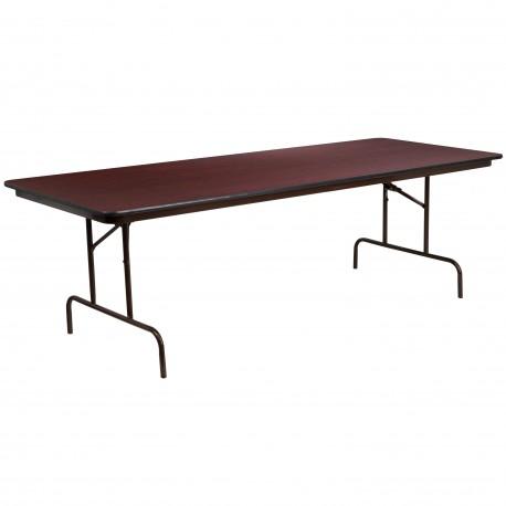 36'' x 96'' Rectangular Walnut Melamine Laminate Folding Banquet Table