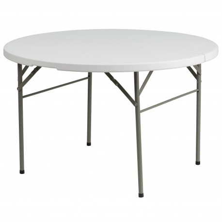 48'' Round Bi-Fold Granite White Plastic Folding Table