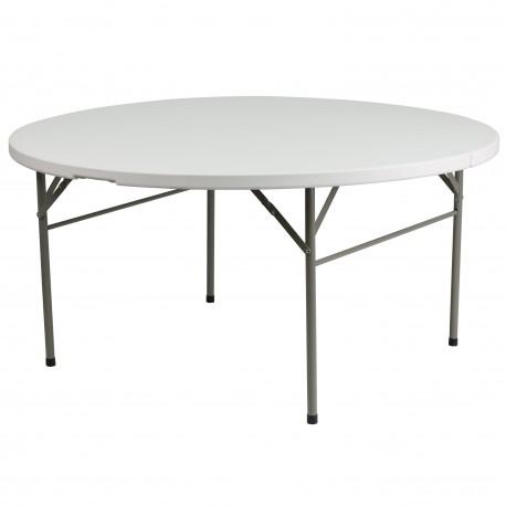 60'' Round Bi-Fold Granite White Plastic Folding Table