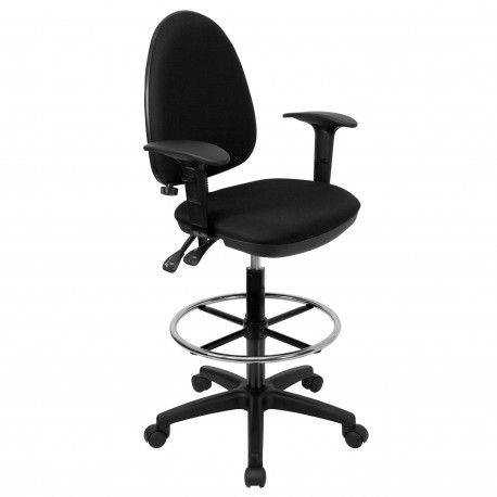 Mid-Back Black Fabric Multi-Functional Drafting Stool with Arms and Adjustable Lumbar Support