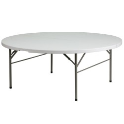 72'' Round Bi-Fold Granite White Plastic Folding Table