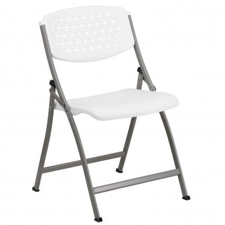 White Designer Comfort Molded Folding Chair