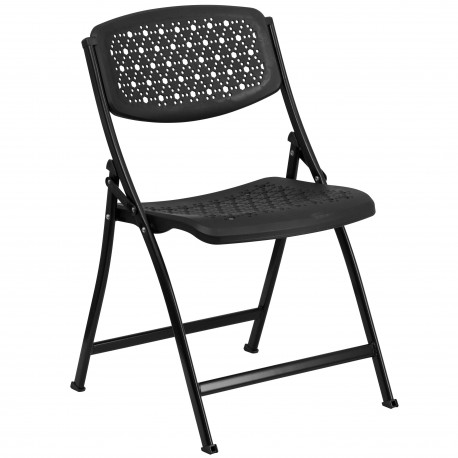 Black Designer Comfort Molded Folding Chair