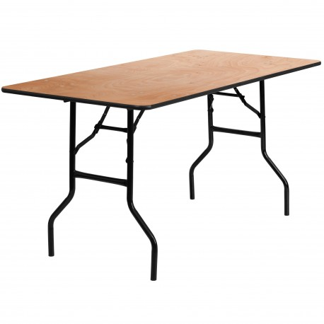 30'' x 60'' Rectangular Wood Folding Banquet Table with Clear Coated Finished Top